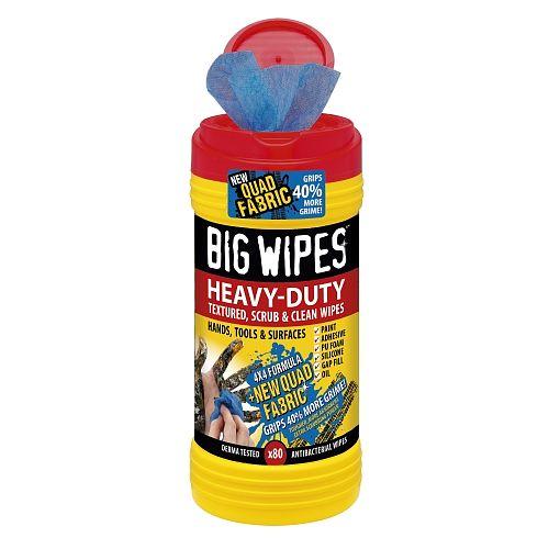 Big Wipes Heavy Duty är en effektiv rengöringsduk för färg, fett, tätninsmedel mm på händer och vektyg, finns på Färghem din lokala färghandel online