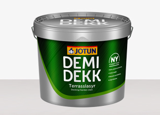 Demidekk Terrasslasyr används med fördel på terrassgolv, trädgårdsmöbler mm hittar du hos Färghem - din lokala färghandel på nätet